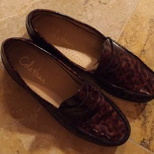 Cole Haan print patent leather loafers well loved